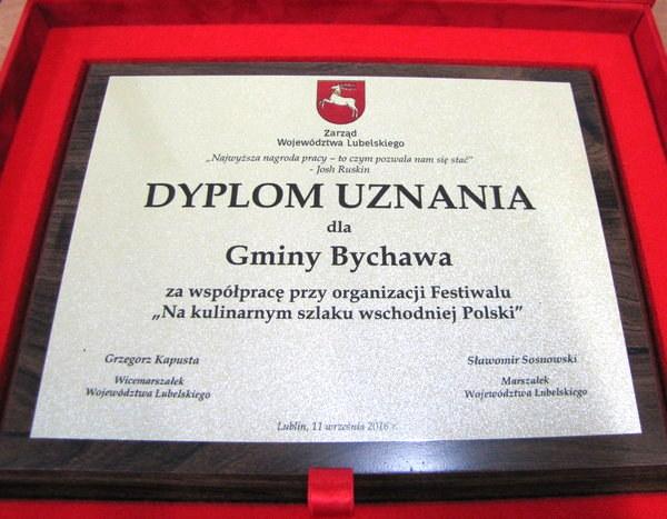 2016-09-12 dyplom uznania dla gminy bychawa